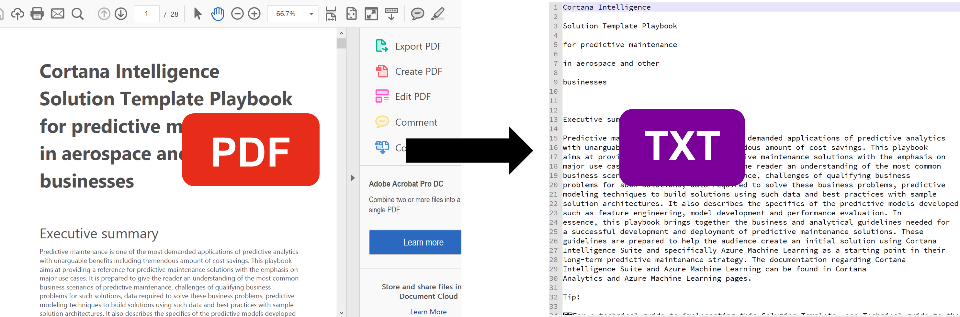 Convert PDF to TEXT | Azure AI Gallery